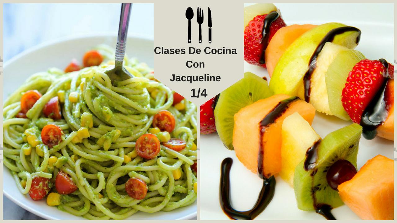 Brochetas de frutas y pasta en salsa de aguacate en clases - Cocina con clase ...