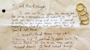 El ladrón envió el botín junto a una carta anónima en la que muestra su arrepentimiento