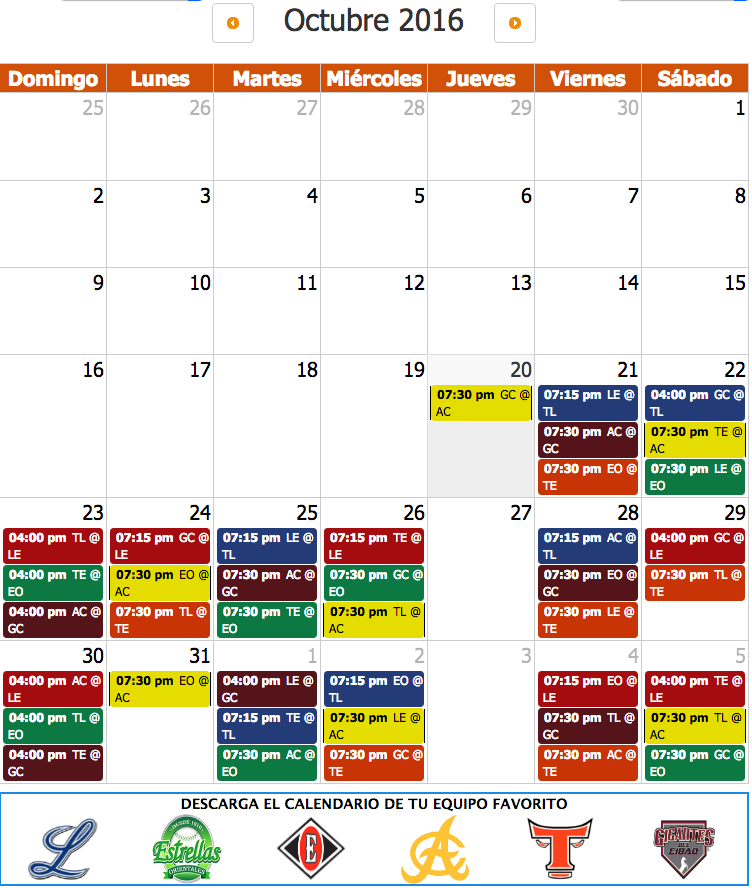 calendario de beibol