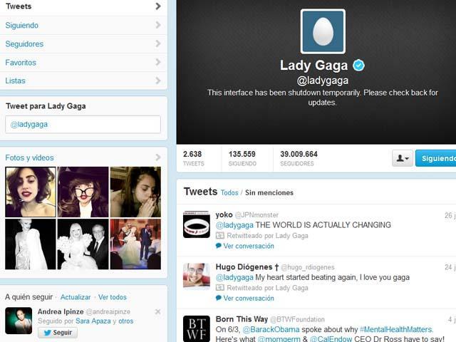 Lady Gaga: su cuenta en Twitter aparece como cancelada