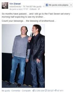 """Vin Diesel recordó a Paul Walker, a seis meses de su muerte: """"Todavía espero ver a mi hermano"""""""